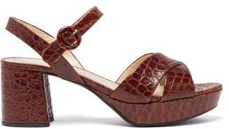 Prada Platform Crocodile Effect Leather Sandals - Womens - Dark Brown