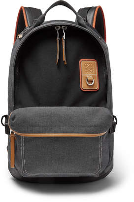 Loewe Eye nature Leather-Trimmed Canvas Backpack