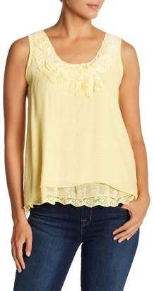 Papillon Floral Accent Sleeveless Top