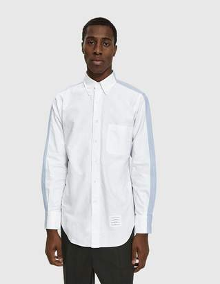 Thom Browne Bicolor Classic Long Sleeve Shirt In Oxford