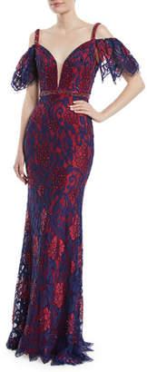 Jovani Cold-Shoulder Open-Back Lace Dress