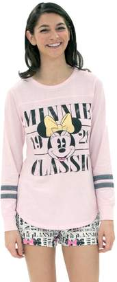 Disney Disney's Minnie Mouse Juniors' Pajamas: Long Sleeve Tee & Boxer Shorts PJ Set