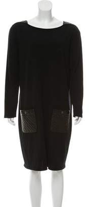 Chanel Leather-Trimmed Wool Dress