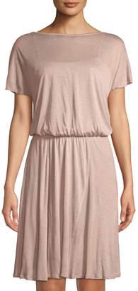 Three Dots Ruffle-Sleeve Gossamer Jersey Dress