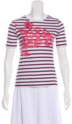 Tory Burch Striped Short Sleeve Top