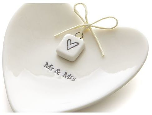 Crate & Barrel Mr. and Mrs. Ring Dish