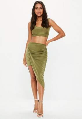 Missguided Khaki Disco Slinky Midi Aysmmetric Skirt, beige
