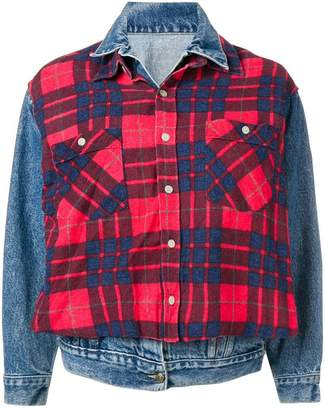 R 13 layered check denim jacket