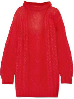 Maison Margiela Oversized Mohair-blend Turtleneck Sweater - Red
