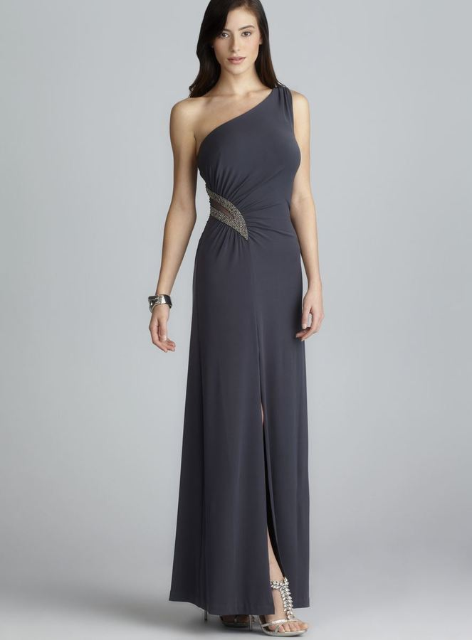 Calvin Klein One Shoulder Side Gathered Bead Embellished Front Slit Gown