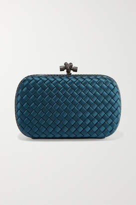 Bottega Veneta Chain Knot Watersnake-trimmed Intrecciato Satin Clutch - Petrol