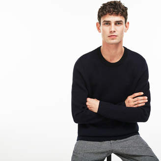 Lacoste Men's Crew Neck Print Wool And Cotton Jacquard Sweater