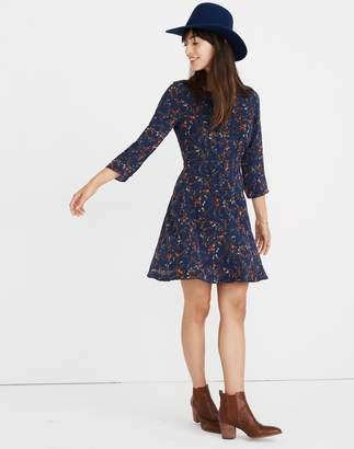 Madewell Silk Boatneck Pintuck Dress in Moonless Floral