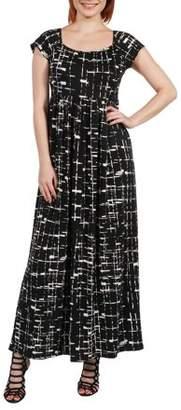 24/7 Comfort Apparel Women's Deena Black and White Empire Waist Maxi Dress
