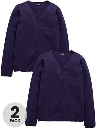 Very Schoolwear Girls School Cardigans - Navy (2 Pack)