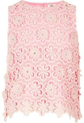 River Island Girls pink lace sequin flower shell top