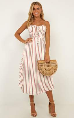 Showpo Changing Sun Dress in rust stripe - 8 (S) Sale Dresses