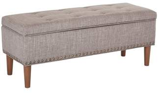 Office Star AVE SIX by Products Bryant Bench in Dove Fabric with Coffee Tapered Legs and Antique Bronze Nailheads K/D Legs
