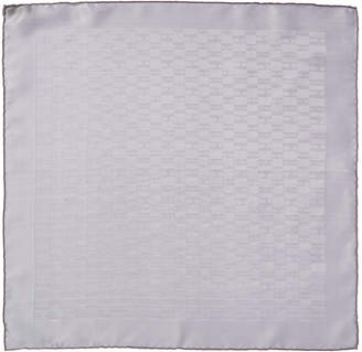 Hermes Grey Grand H Silk Pocket Square, Nwt