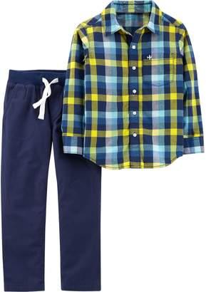 Carter's Boys 4-8 Plaid Shirt & Pull On Pants Set