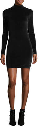 Alexander Wang Long-Sleeve Turtleneck Velour Mini Dress w/ Back Cutout
