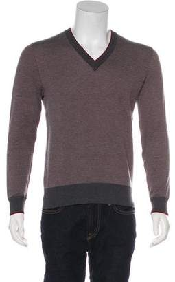 Alexander McQueen Wool & Silk Patterned V-Neck Sweater