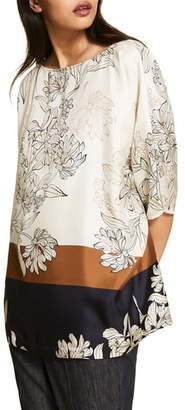 Marina Rinaldi Famoso Printed Silk Tunic Top