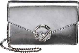 Fendi Logo Metallic Leather Wallet On Chain