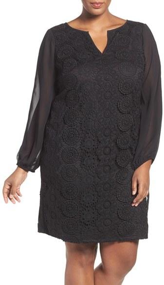 Adrianna PapellPlus Size Women's Adrianna Papell Slit Sleeve Lace Shift Dress