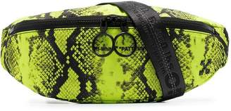 Off-White neon yellow python-print belt bag