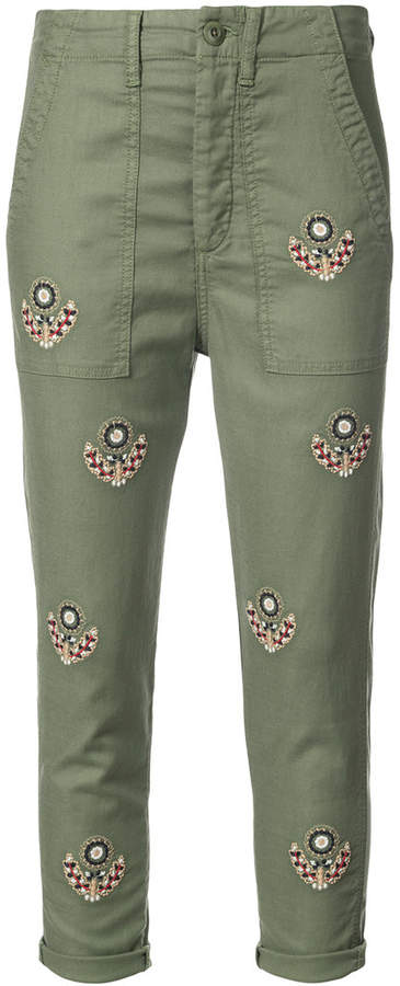 The Great embroidered cropped trousers
