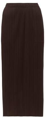 Pleats Please Issey Miyake Pleated Midi Skirt - Womens - Dark Brown