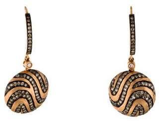 14K Diamond Swirl Drop Earrings
