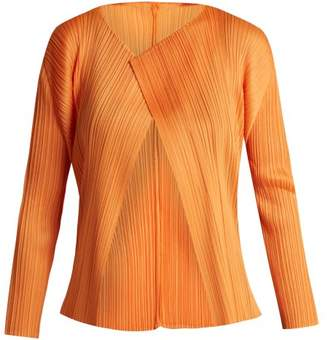 Pleats Please Issey Miyake Cropped Pleated Cardigan - Womens - Orange