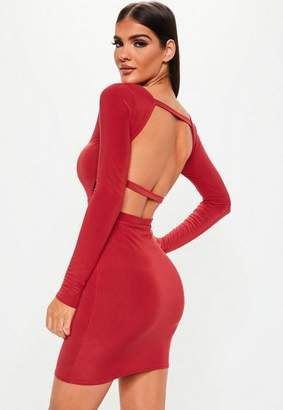 Missguided Red Long Sleeve Open Back Dress