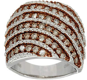 Affinity Diamond Jewelry Pave' Colored Diamond Wide Ring, Sterl, 1.50cttby Affinity