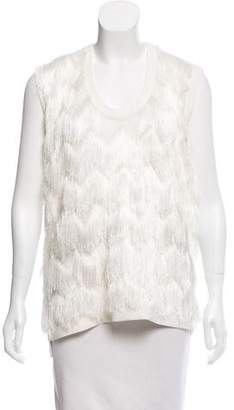 Hotel Particulier Fringed Open Knit Top