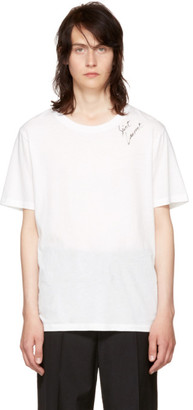 Saint Laurent White Logo Signature T-Shirt $350 thestylecure.com