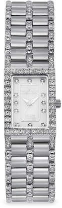 Croton Womens Diamond-Accent Square Stainless Steel Bracelet Watch
