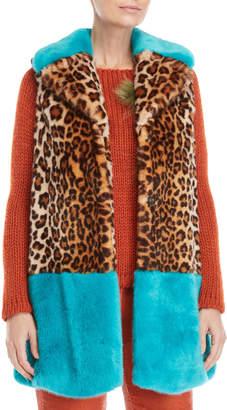 Blugirl Leopard Print Faux Fur Contrast Trim Vest
