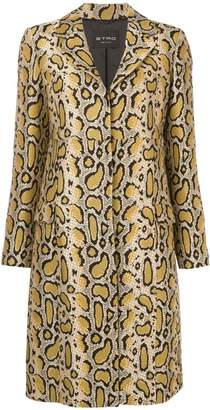 Etro snakeskin-print fitted coat