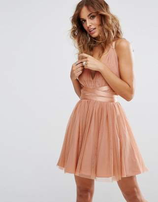 Asos Design PREMIUM Tulle Mini Prom Dress With Ribbon Ties