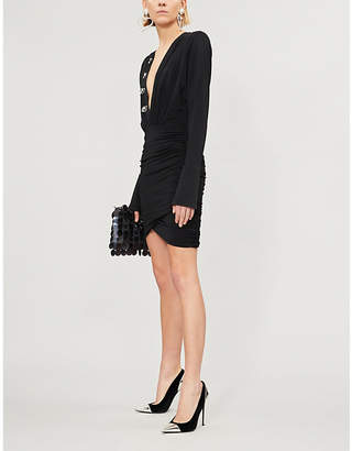 David Koma Ruched sequin-embellished stretch-jersey dress