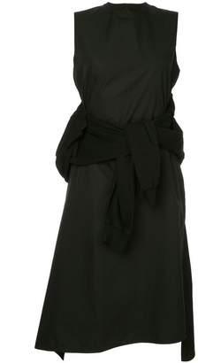 Aganovich flared sweater detail layered dress