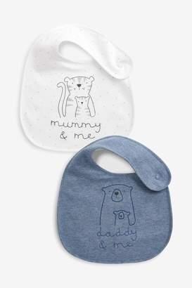 Next Boys Blue/Ecru 2 Pack Mummy And Daddy Character Regular Bibs - Blue