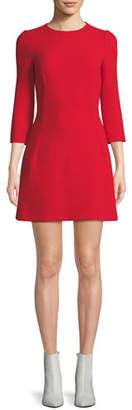 Dolce & Gabbana 3/4-Sleeve A-Line Button-Back Wool Dress