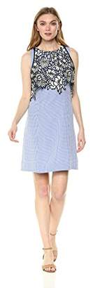 Nicole Miller New York Women's Sleeveless a-line Dress lace Bodice Overlay