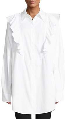 A.L.C. Auster Long-Sleeve Button-Down Cotton Top w/ Ruffled Trim