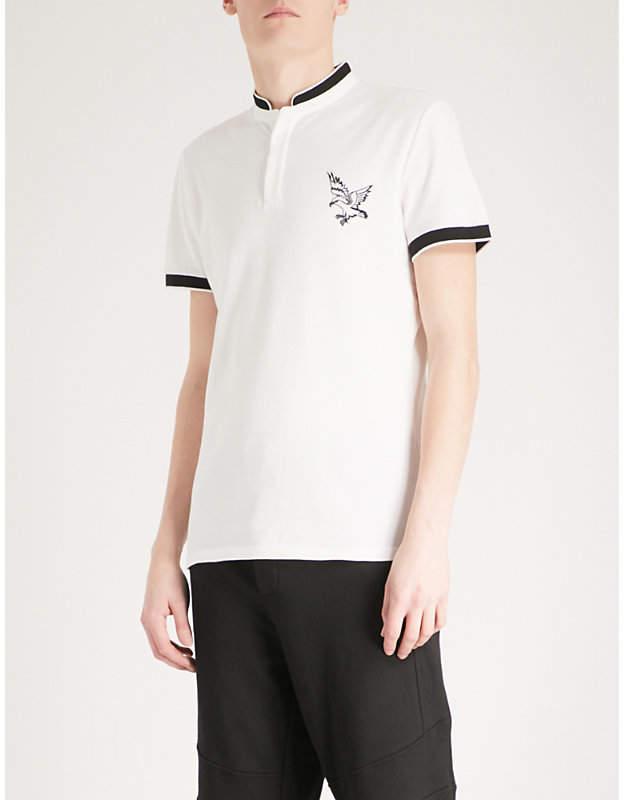 Embroidered eagle officer-collar cotton-piqué polo shirt