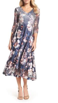 Komarov Print Charmeuse & Lace A-Line Dress